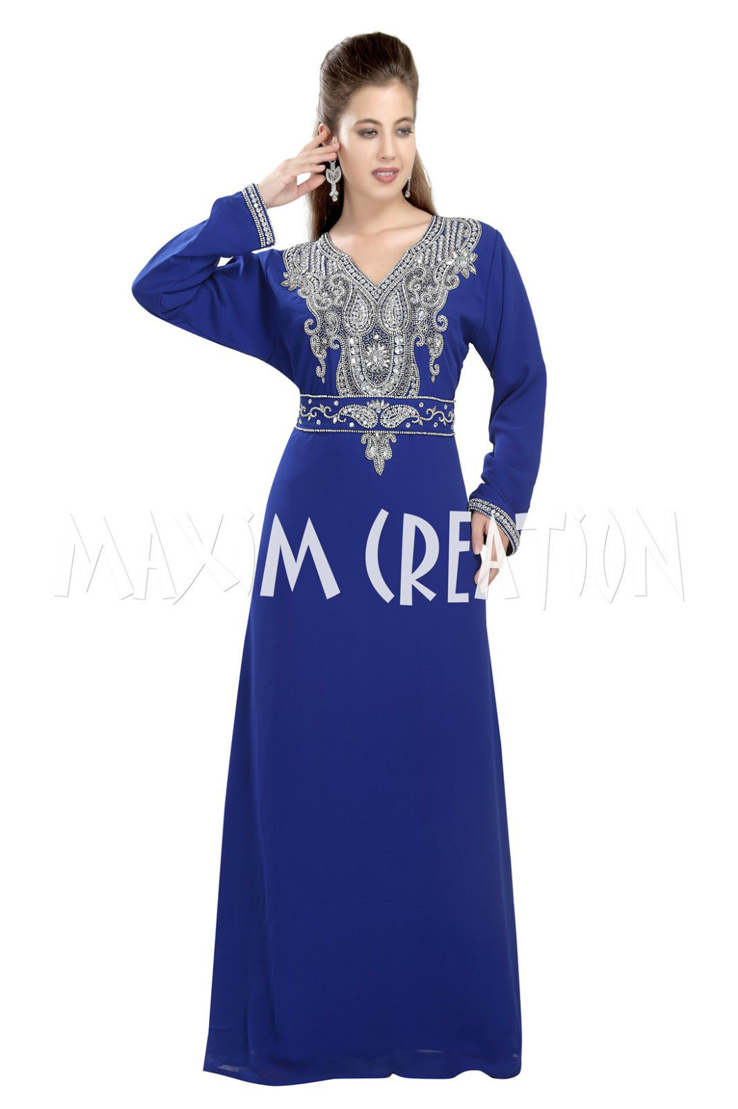 MODERN DUBAI KAFTAN WITH BLING EMBROIDERY FOR WOMEN ONLY