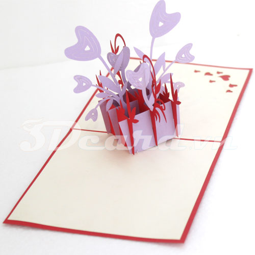 Heart flower vase-Kirigami-Origamic-Laser cut-Paper cutting-3D-Handmade-Pop up-Birthday card