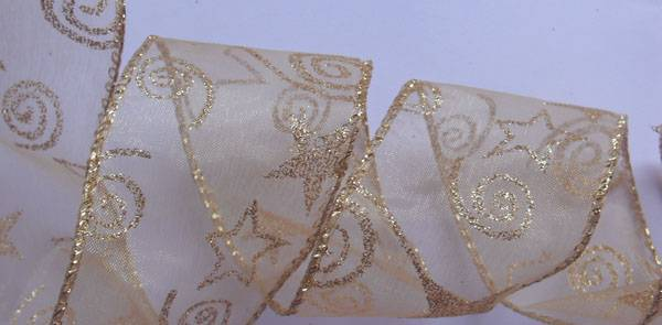 gold organza with glitters stars fabric ribbon, sewing wire edge
