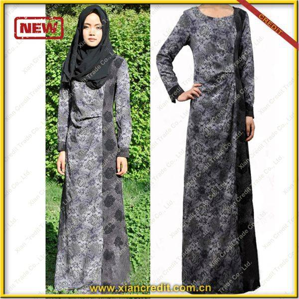 2014 Newest muslim women abaya made of Two face cotton tencel prints  P002