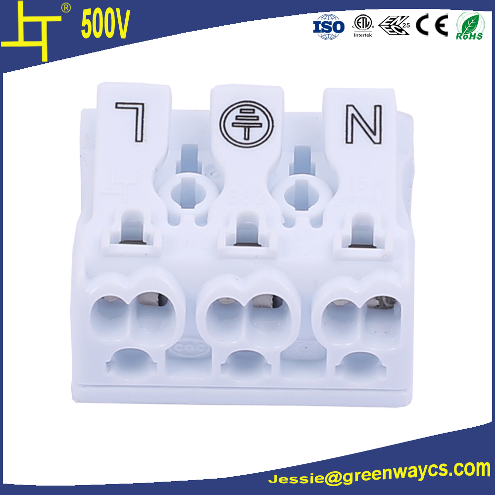 16A 450V 3 way push wire connector