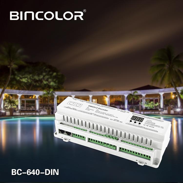 DIN Rail 40CH DMX512 Decoder BC-640-DIN-LED