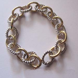 Sterling Silver Jewelry 925 Silver Chain Bracelet in Gold Plated (B-073)