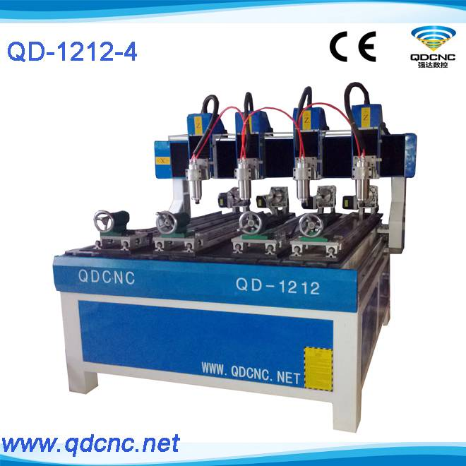 20% discounted multi head woodworking machine/4 heads cylindrical wood cnc router QD-1212-4