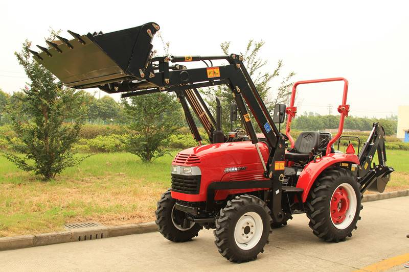Jinma 244E tractor with front end loader and backhoe