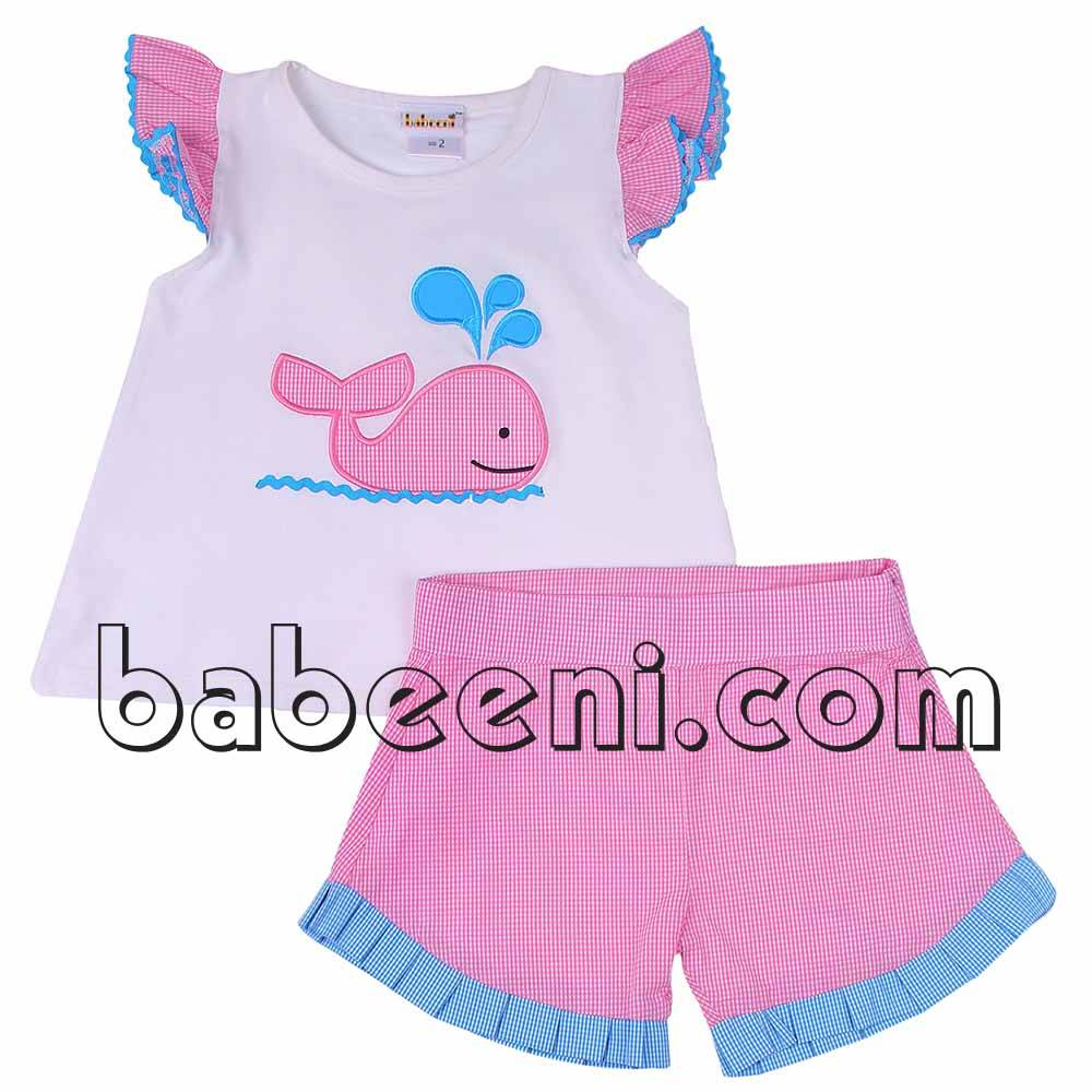 Lovely whale applique girl outfit for Spring-summer - BB565