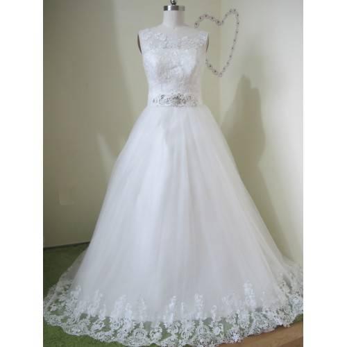 WEDDING DRESS BALL GOWN ZIPPER BACK WITH BUTTONS CHAPEL TRAIN SLEEVELESS W6005