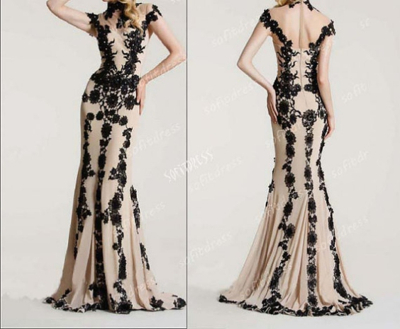 Hot Sale Lace Sheath Prom Dresses,V-Neck Cap Sleeve Long Prom Dress, See Through Evening Dress