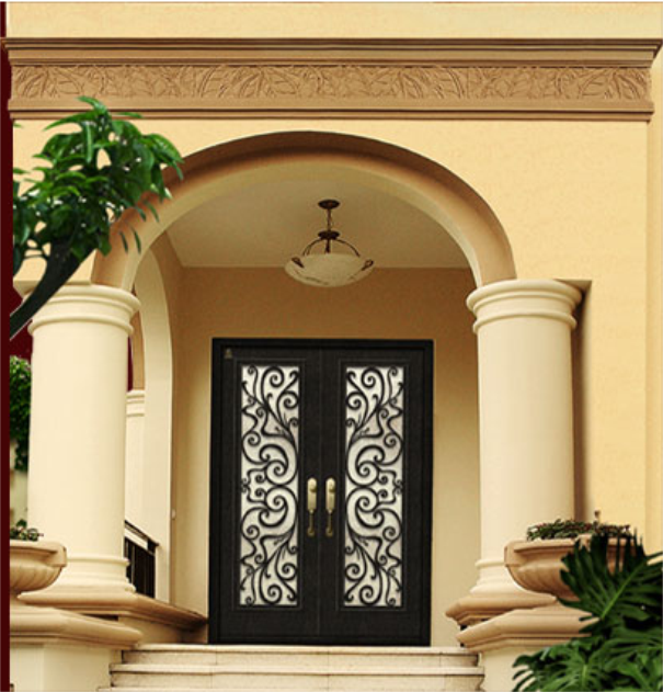 Hand-Made Eyebrow Top Wrought Iron Double Entrance Front Doors(jdl-1010)