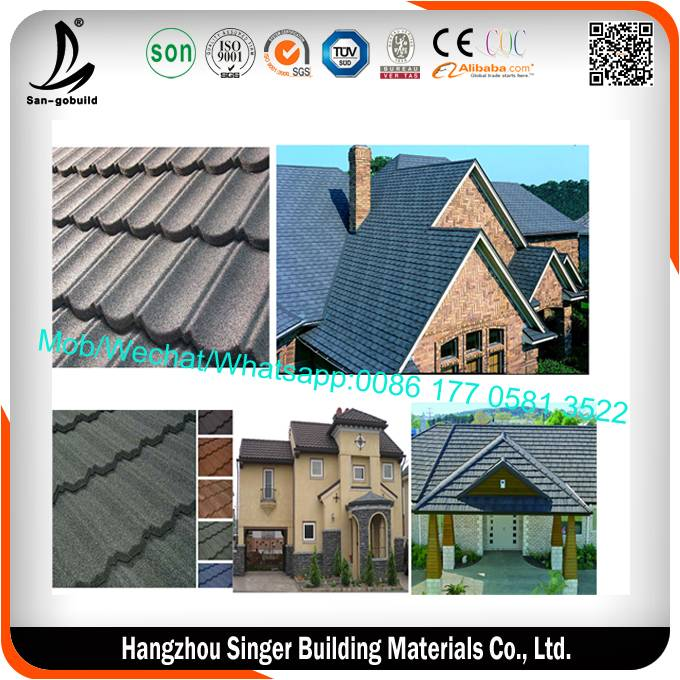 Light weight but strong factory stone coated metal roofing tile, zinc coated corrugated roofing, gal