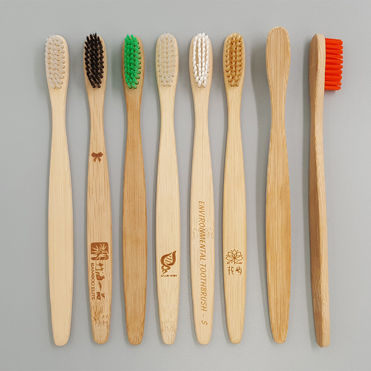 Eco friendly natural flat shape bamboo toothbrush for environmental protection