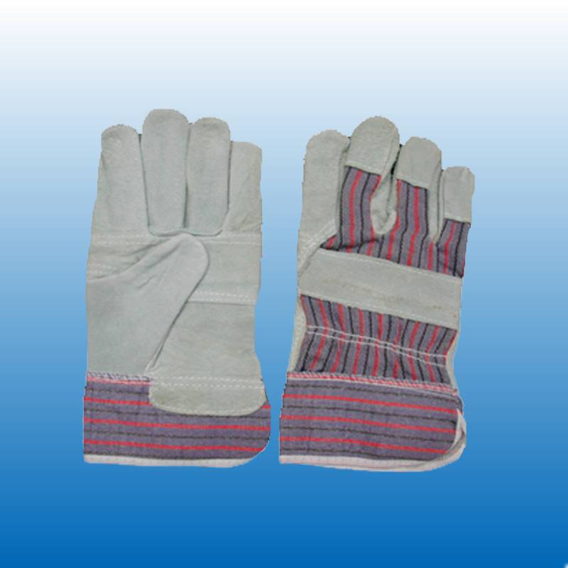 leather work gloves with stripe cotton fabric(C2026)