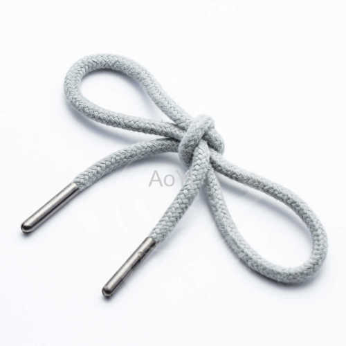 Cotton soft woven drawcord with bullet metal tips