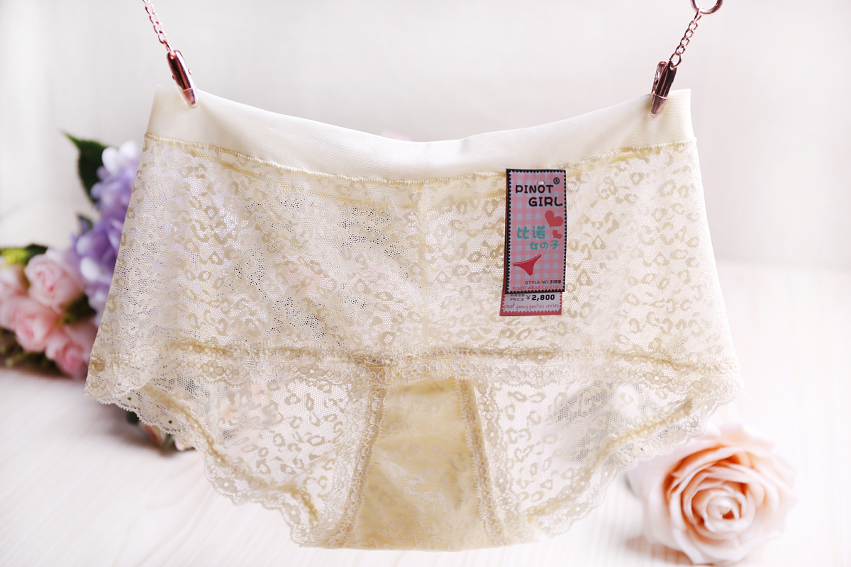European Lady Plus Lace Lingerie Panty Seamless High-Waist Brief