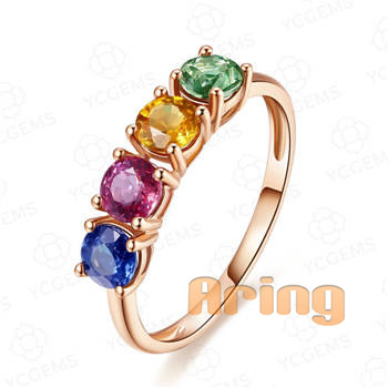 Wholesale 18k Gold Jewelry Multi gemstones rings solid gold jewelry