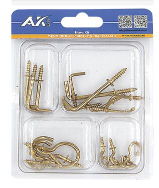 Brass Plated Shouldered Screw Hook Kit