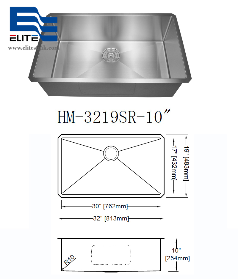304 Stainless Steel Undermount Sink Single Bowl