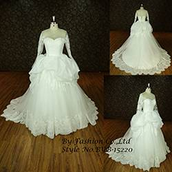 Elegant women bridal dress Ball Gown Long sleeves Bow Tiered Floor Length Organza Wholesale Wedding