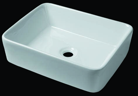 White BESIDE Faucet Hole Ceramic Square Wash Basin,ceramic stink