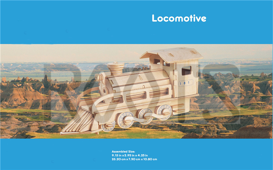 Locomotive-3d wooden puzzles, wooden construction kit,3d wooden models, 3d puzzle