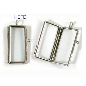 Creative Handmade Geometry Glass Metal Frame Necklace Pendant Large Rectangle GP01