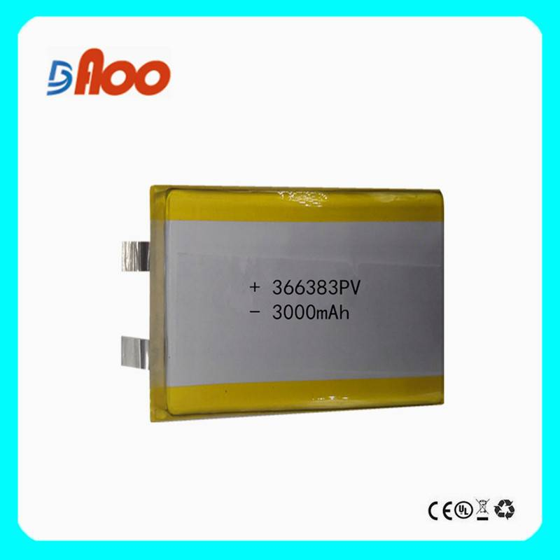 Li-polymer Battery 366383PV 3.7v 3000mAh Manufacturer with CE,ROHS,UL certificates