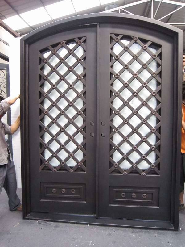 Frosted insulated glass french metal door exterior