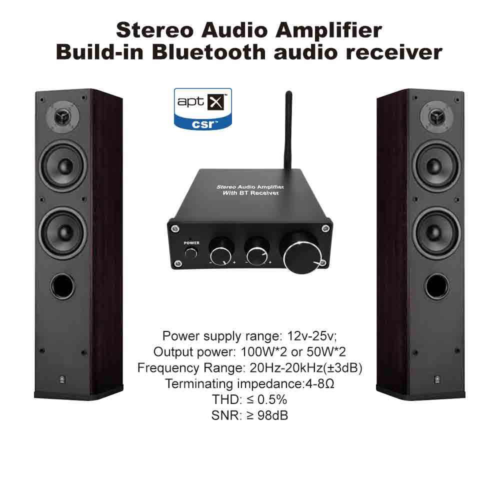 Portable stereo audio amplifier with Bluetooth receiver, with bass and treble control