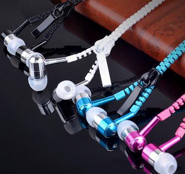 zipper earphone fashion gloden headphone 2017 best sellers metal earphone mobile-phone headphone