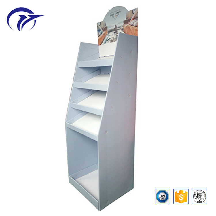 Customized design corrugated paperboard floor standing multilayers supermarket display rack shelf