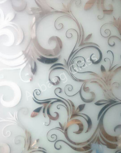 New design pattern acid etched glass, decorative titanium glass mirror