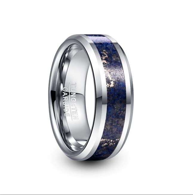 2019 NUNCAD 8mm Wide Tungsten Carbide Ring Wedding Engagement Steel Color Inlaid Lapis Lazuli