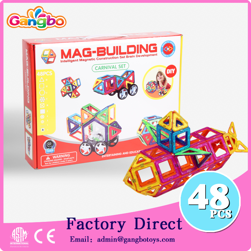 48 pcs kids educational magnetic tiles toys magnetic building blocks electric toy car