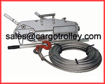Wire rope pulling hoist application and structure