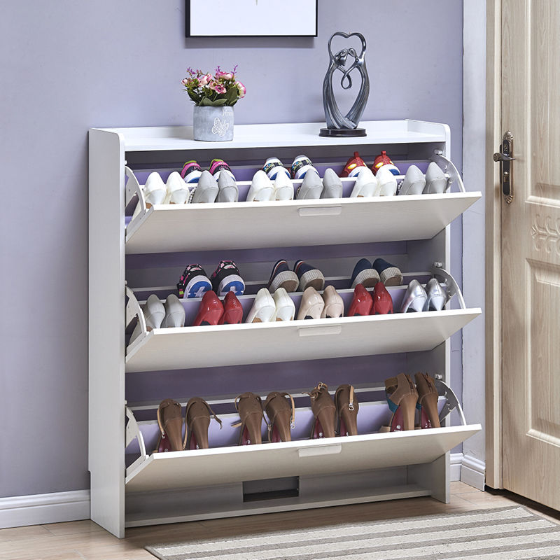 Tipping bucket shoe cabinet