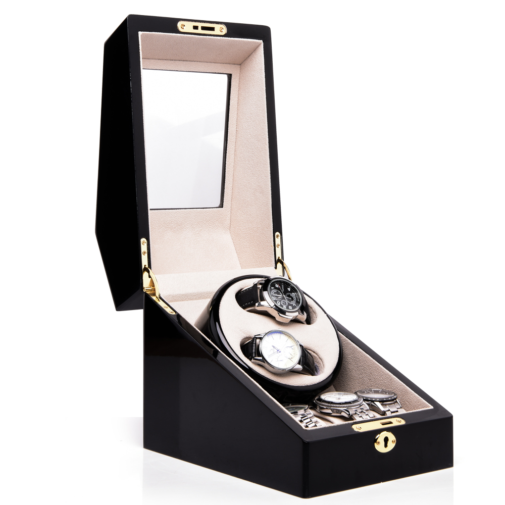 Automatic Watch Winder Wooden Storage Case Display Box for 5 Watches 3 Rotation Modes Quiet Motor