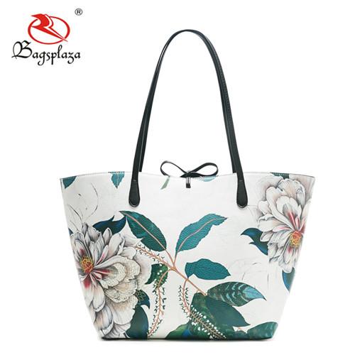 Guangzhou bags factory wholesale fashion printed elegance bags PU OEM bags women handbags