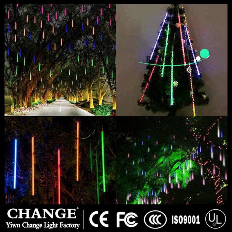 LED Meteor Shower Rain Tube Garland Holiday Christmas Tree Snow Decorative Outdoor Fairy String Lamp