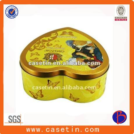 custom heart shape metal chocolate packaging tin box