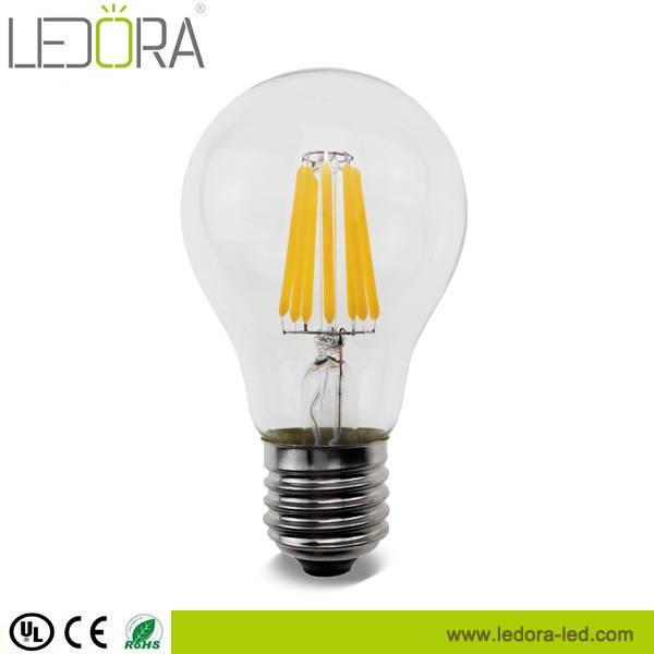 UL listed Ra>90 4w 6w 8w 2200k 2700k dimmbale led filament bulb
