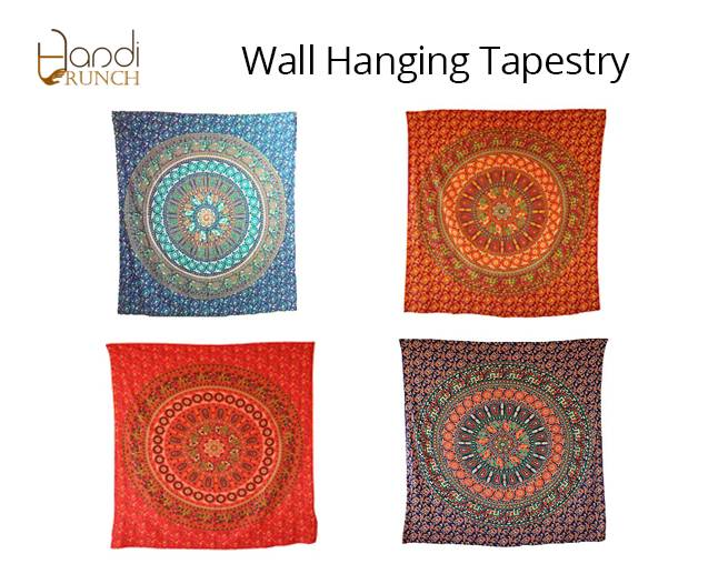 Handicrunch | Indian Elephant Print Tapestry Wall Hanging Bedspread