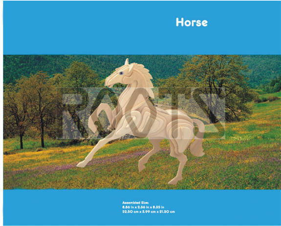 Horse-3D wooden puzzles, wooden construction kit,3d wooden models, 3d puzzle