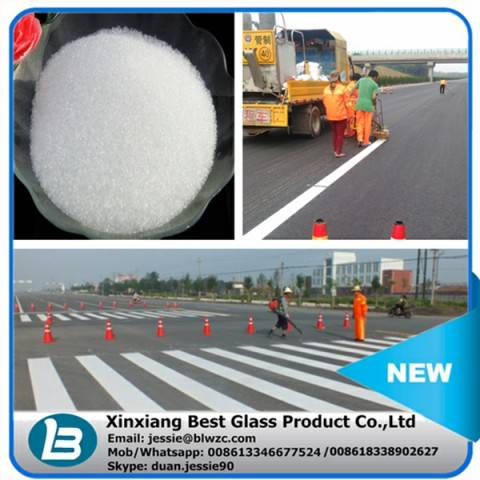 Drop on or premixed glass beads for road marking paint