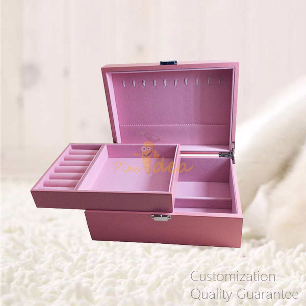 Matte Pink Color Women Girls' Vacation Gift Wooden Jewelry Storage Chest Box with Mirror