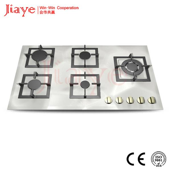 Jiaye 5 burners gas hob price, stainless steel gas cookerJY-S5060