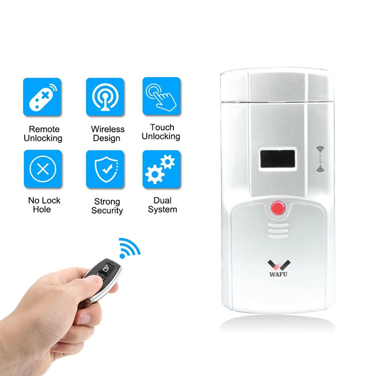 WAFU Wireless Smart Remote Lock, Invisible Security Door Lock, Anti-theft Lock with Keyless + 4 Keys