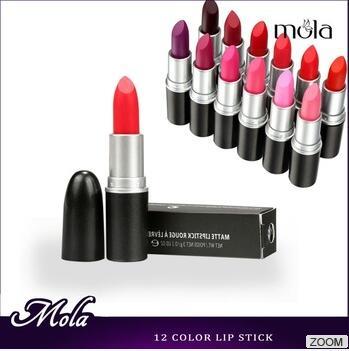 China cosmetics supplier 12 color slim black lipstick tube lipstick pen