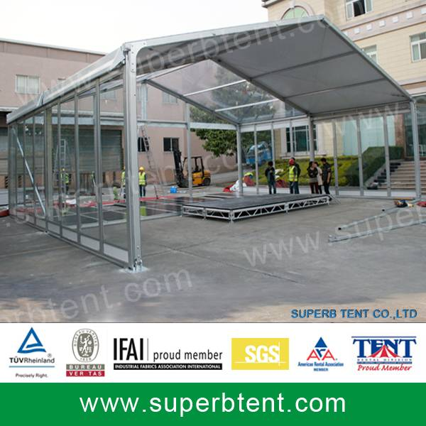 Clear marquee tent with glass system