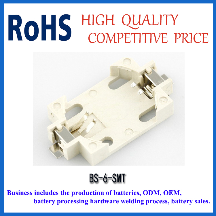 BS-6 battery holder for CR2032 series button cell battery SMT series