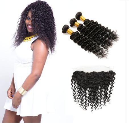 [8A]3 Bundles Indian Deep Wave Hair Weave With Lace Frontal